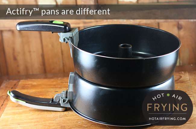 Actifry Family Size and Actifry 2-in-1 pans are the same width.