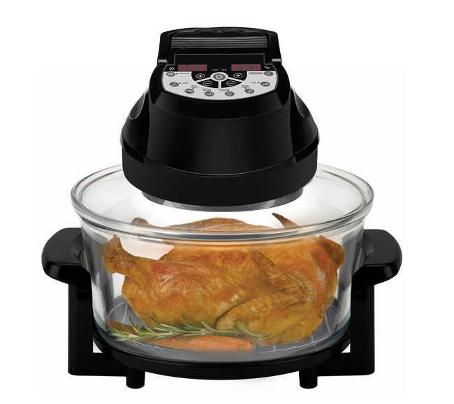 Halogen - Big Boss Rapid Wave Halogen Infrared Convection Countertop Oven - 12 ½ Quart with Extender Ring Glass Bowl - Digital Presets