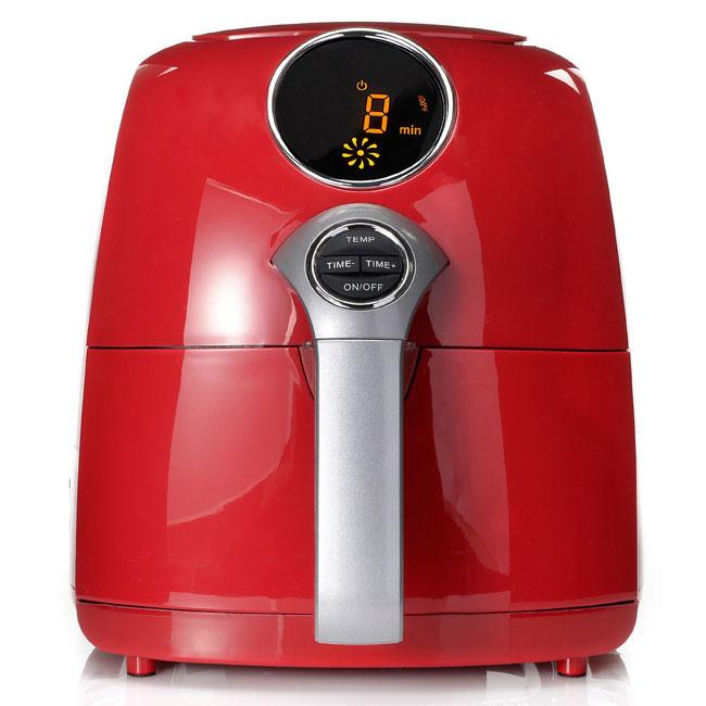 Living Basix JetFry Digital Oil-Free Fryer red digital