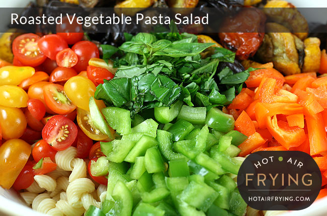Roasted-Vegetable-Pasta-Salad Ingredients