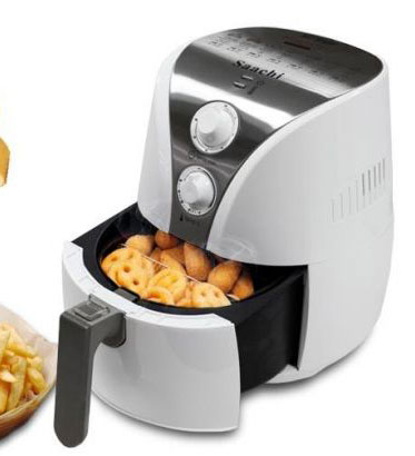 Saachi Air Fryer white, dials, showing tray