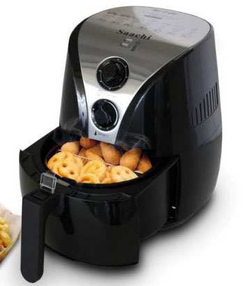 Saachi Air Fryer black dial showing tray
