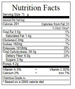 Actifry Gourmet Potato Chips Nutrition